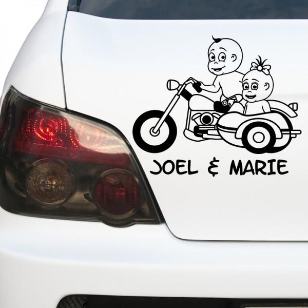 Kfz-Aufkleber - Baby Zwillinge auf Motorrad (Mädchen & Junge)