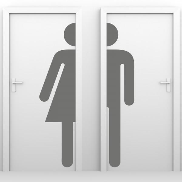 Türaufkleber - WC-Männchen halb
