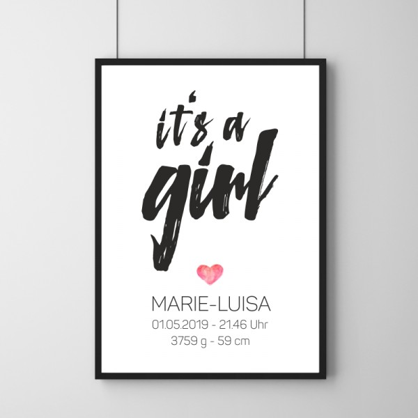 Poster - It's a Girl - Personalisierbar