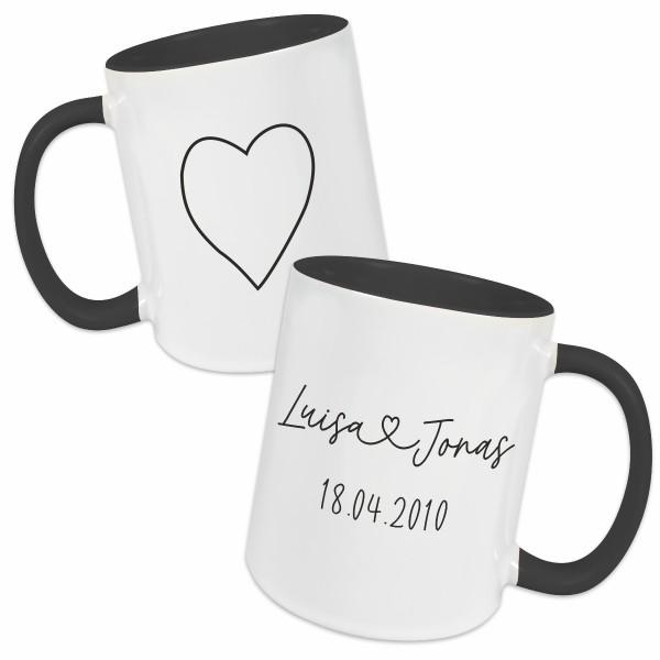 Tasse - Partner Namen, Datum & Herz
