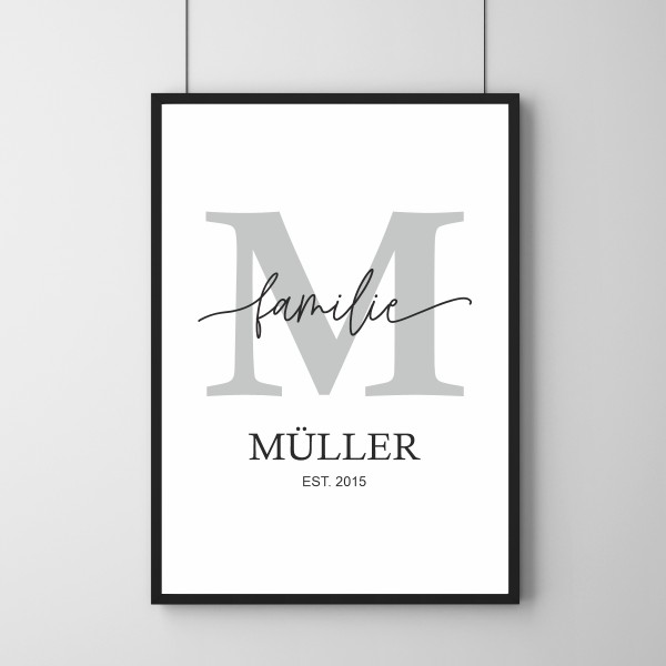 Poster - Buchstabe Familienname - Personalisierbar