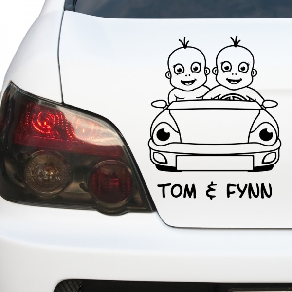 Kfz-Aufkleber - Baby Zwillinge im Auto